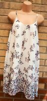 FLORENCE & FRED WHITE GREY PINK BUTTERFLY SLIP SMOCK STRAPPY BAGGY SHIFT DRESS L