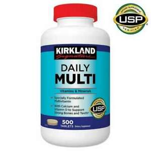 Kirkland Signature MultiVitamins Multi Vitamins Minerals Supplement 500 Tablets
