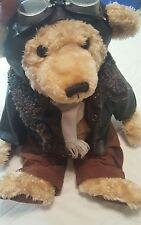 Rare Fine Toy Teddy Bear Plush Airplane Pilot Aviator Goggles Leather Jacket 18""