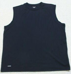 Prospirit Sleeveless Solid Navy Blue Crewneck Tee T-Shirt Top Size X-Large XL