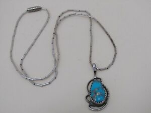 Vintage SR Southwestern Sterling Silver Turquoise Cabochon Pendant Necklace