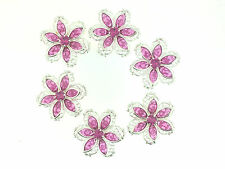 Silver Plated Filigree Flower Findings w/ Swarovski Crystals 6 pcs (G-287)