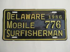 1986 Delaware MOBILE SURF FISHING PERMIT  License Plate Tag