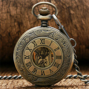 Vintage Antique Bronze Steampunk Style Skeleton Handwind Mechanical Pocket Watch