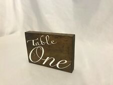 Wood Table Numbers 1-6 Both Sides Elegant White Cursive Writing Weddings Party's