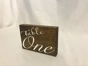 Wood Table Numbers 1-21 Both Sides Elegant White Cursive Writing Weddings Partys