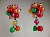 Vintage Clip On Earrings Dangle Beaded Colorful