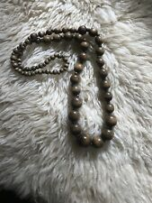 Necklace Lagenlook Long Graduated Autumn � Olive Brown Wooden Roung Bead Boho