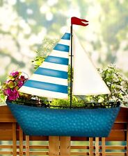 Railing Flower Planter Vintage Sail Boat Shaped- Deck Porch Rail Home and Garden