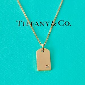 """Tiffany & Co. 18k Rose Gold Mini Charms Tag Diamond Necklace 16"""" W/packing!!!"""