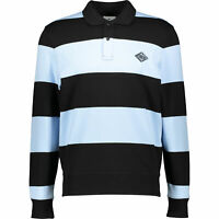 New Lacoste LIVE Black & Blue Striped Long Sleeved Polo Shirt  Medium RRP £115
