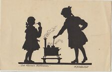 SILHOUETTE The Little Chef GIRL Cooker Artist Signed Vintage German PC c1930s