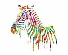 Zebra Watercolor Print Multi Color Art Picture Silhouette Painting Print & Mat
