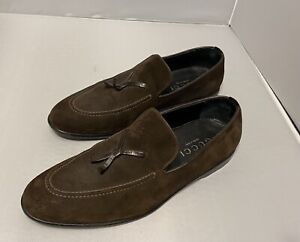 Great Preowned Men's Size 11 1/2 Medium Gucci Italian Brown Sued Loafers 1101566