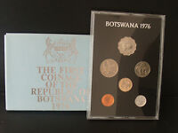 1976-The First Coinage of The Republic of Botswana & gift envelope-proof