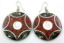 Handmade Abalone Shell Red Coral Shiva Eye Dangle Drop earrings Jewelry AA287-A