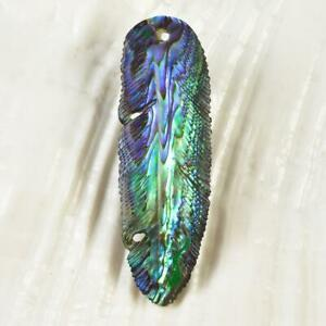 Multicolor Paua Abalone Shell Iridescent Carved Bird Feather for Pendant 1.30 g