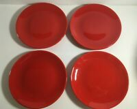"""(4) Crate & Barrel 8 1/2"""" Red Coupe Salad Plates *****"""