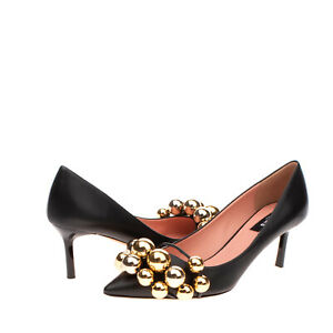 RRP €845 ROCHAS Leather Court Shoes Size 39 UK 6 US 9 Heel Beads Made in Italy