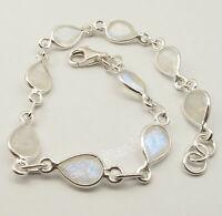 """.925 Sterling Silver BLUE FIRE DROP RAINBOW MOONSTONE ART Bracelet 8.3"""""""