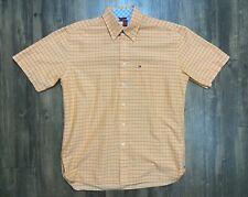 Tommy Hilfiger Button Up Short Sleeve Shirt Men's Size Medium Orange Checkered