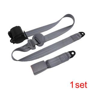 Auto Car Adjustable Retractable 3 Point Safety Seat Belt Straps Kit Accessories