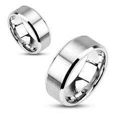 8mm Brushed Center Flat Wedding Band Beveled Edge Ring 316L Stainless Steel