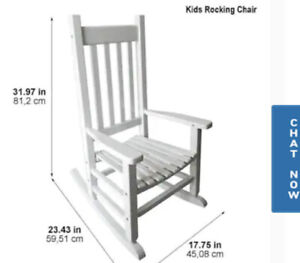STYLE SELECTIONS CHILDRENS WHITE WOOD ROCKING CHAIR WITH SLAT SEAT
