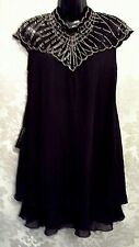 LIPSY SIZE 14 BLACK BEAD EMBROIDERED CHIFFON SWING DRESS BNWT @ NEXT (8824)