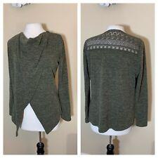 Maurices Medium Olive Green Petal Front crochet Detail top womens long sleeve