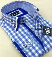 New Men Smart Blue and White Checked Italian Design Slim Fit Double Collar Shirt