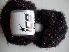 Eyelash Blend sparkly yarn by Ice Yarns, black/lilac, lot of 2 (110 yds ea)