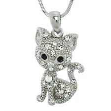 "KITTY CAT W Swarovski Crystal Clear Cute Kitten Pendant Necklace 18"" Chain"