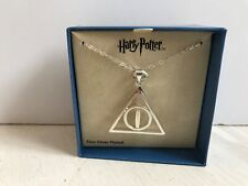 """NEW Harry Potter DEATHLY HALLOWS Pendant Necklace Silver Plated 18"""" Chain"""