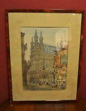 Alte Lithographie in Farbe Rathaus Leuven / Löwen Belgien