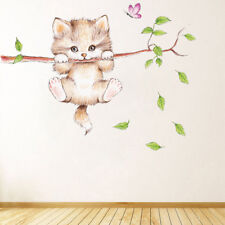 Cute Cat Hanging Wall Stickers Nursery kids baby Room Art Wall Decals Decor