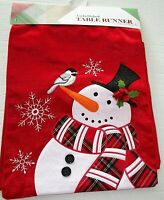 """CHRISTMAS EMBELLISHED TABLE RUNNER 13"""" X 72""""  SNOWMAN W/TOPHAT & SCARF"""