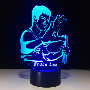 3D Bruce Lee Kung Fu Night Light LED Table Desk Lamp Home Art Decorative Lantern