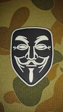 NEW ANONYMOUS WHITE BLACK GLOW PVC TACTICAL AIRSOFT HOOK PATCH AUSTRALIAN SELLER