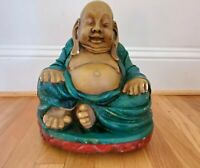 Vintage Garden Happy Ceramic Buddha in Green & Red Robe 12 in Tall x 10 in Wide