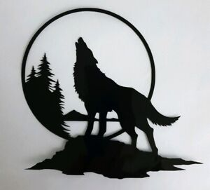 1x Wolf Howling Moon Trees Car Van Vinyl Sticker Decal Window Fun Lg 6x5in Black