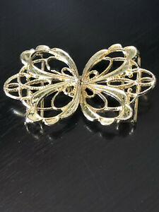 Vintage Collectible Two Part Butterfly Gold Tone Belt Buckle