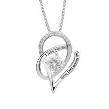 .925 Sterling Silver I Love You To The Moon and Back Love Heart Pendant Necklace
