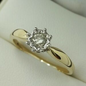 9ct Yellow Gold Diamond Solitaire Engagement Ring, Finger Size P