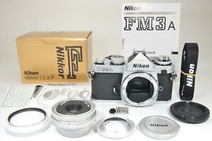 Nikon FM3A Silver 35mm Film Camera with Nikkor 45mm f/2.8P #a1577 Film Tested