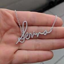 0.75 ct Genuine Diamond Customization Letter Name Logo Pendant Necklace Silver