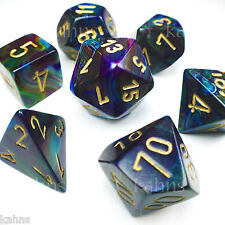Chessex Dice Poly - Lustrous Shadow w/ Gold - Set of 7 - 27499 Free Bag! DnD