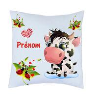 coussin vache coccinelle personnalisé avec prénom au choix réf 94