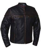 Men's Naked Cowhide Brown Leather Jacket 6037.RUB  ( Size XL )