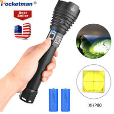 Most Powerful 200000LM XHP90 LED Flashlight Zoom Rechargeable Torch Hunting Lamp